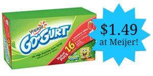 Meijer: Yoplait Go-Gurt 16-count Only $1.49 at Meijer!