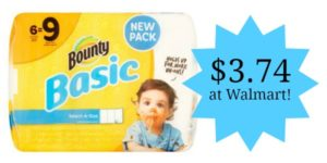 Walmart: Bounty Basic Select-A-Size White Paper Towels 6ct Only $3.74!