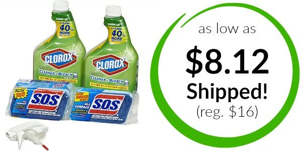 Clorox Clean-Up Bleach Cleaner Spray and S.O.S All Surface Scrubber Sponge Value Pack