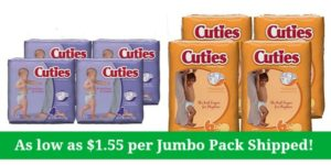 Cuties Baby Diapers Jumbo Pack as low as $1.55 Shipped!