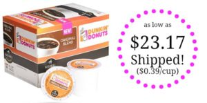 Dunkin' Donuts Coffee K-cup Pods 60-count as low as $23.17 Shipped! ($0.39/cup)