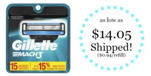 Gillette Mach3 Men's Razor Blade Refills, 15 Count as low as $14.05 Shipped!