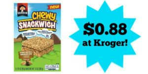 Kroger: Quaker Chewy Snackwich Only $0.88!