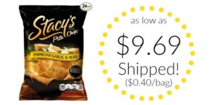 Stacy's Parmesan Garlic & Herb Flavored Pita Chips 24-count as low as $9.69 Shipped! ($0.40/bag)