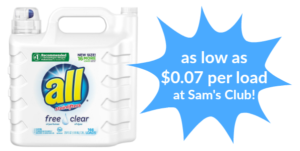 Sam's Club: All Free & Clear Laundry Detergent as low as $0.07 per load!