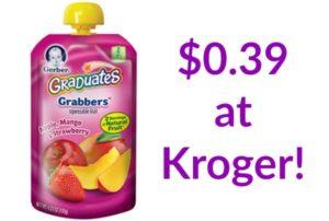 Kroger: Gerber Graduates Pouches Only $0.39!