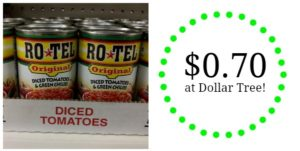 Dollar Tree: Rotel Tomatoes Only $0.70!