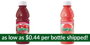Tropicana Cranberry Cocktail or Ruby Red Grapefruit Juice as low as $0.44 per Bottle Shipped!