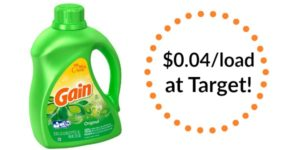 Target: Gain Liquid Laundry Detergent Only $0.04 per Load!
