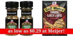 Meijer: McCormick Grill Mates Seasoning as low as $0.29!