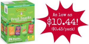 Pack of 24 Annie's Organic Bunny Fruit Snacks as low as $10.44 ($0.43 Each)!