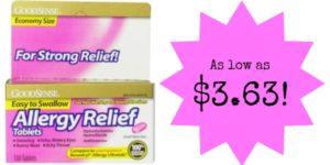 GoodSense Allergy Relief Antihistamine 100 Count as low as $3.63!
