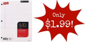 Staples Wide Ruled Notebook Paper Only $1.99 + FREE Shipping – $2 Cheaper than at Staples!