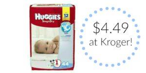 Kroger: Huggies Jumbo Pack Diapers Only $4.49!