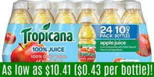 Tropicana Apple Juice 24-Packs as low as $10.41 ($0.43/Bottle)!