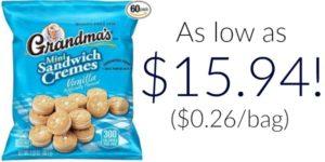 Pack of 60 Grandma's Vanilla Creme Minis Sandwich Cookies as low as $15.94 ($0.26 per Bag)!