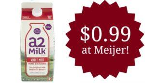 Meijer: A2 Milk Only $0.99! (reg. $3.99)