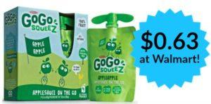 Walmart: GoGo Squeez Applesauce Pouches Only $0.63!