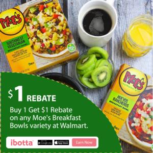 NEW $1/1 Moe's Southwest Grill Breakfast Bowls Ibotta Rebate at Walmart!
