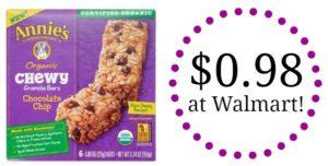 Walmart: Annie's Chocolate Chip Granola Bars Only $0.98!