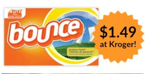 Kroger: Bounce Dryer Sheets Only $1.49!