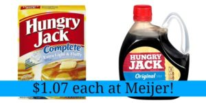 Meijer: Hungry Jack Pancake Mix and Syrup Only $1.07 Each!