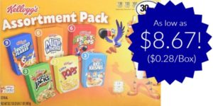 Kellogg's Breakfast Cereal Assortment Pack 30-Count as low as $8.67 ($0.28/Box)!