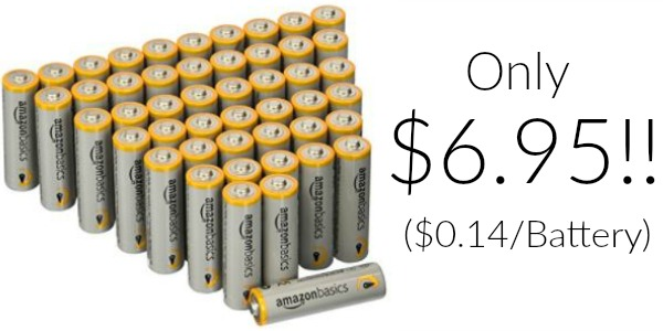 Pack of 48 AmazonBasics AA Batteries Only $6.95 ($0.14