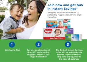 Join Sam's Club and Get $45 in Instant Savings on Huggies Products!