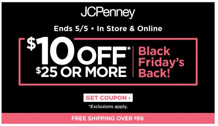 jcpenney offers $10 off $25