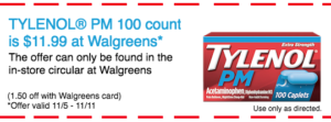 Save $1.50 on TYLENOL® PM 100 Count at Walgreens!