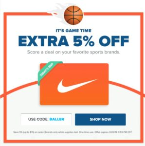 Raise.com Gift Card Sale – Additional 5% OFF Sports Brands + $5 for New Customers!