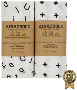 Amazrock Muslin Baby Swaddle Blanket 2-Pack Only $12.99!