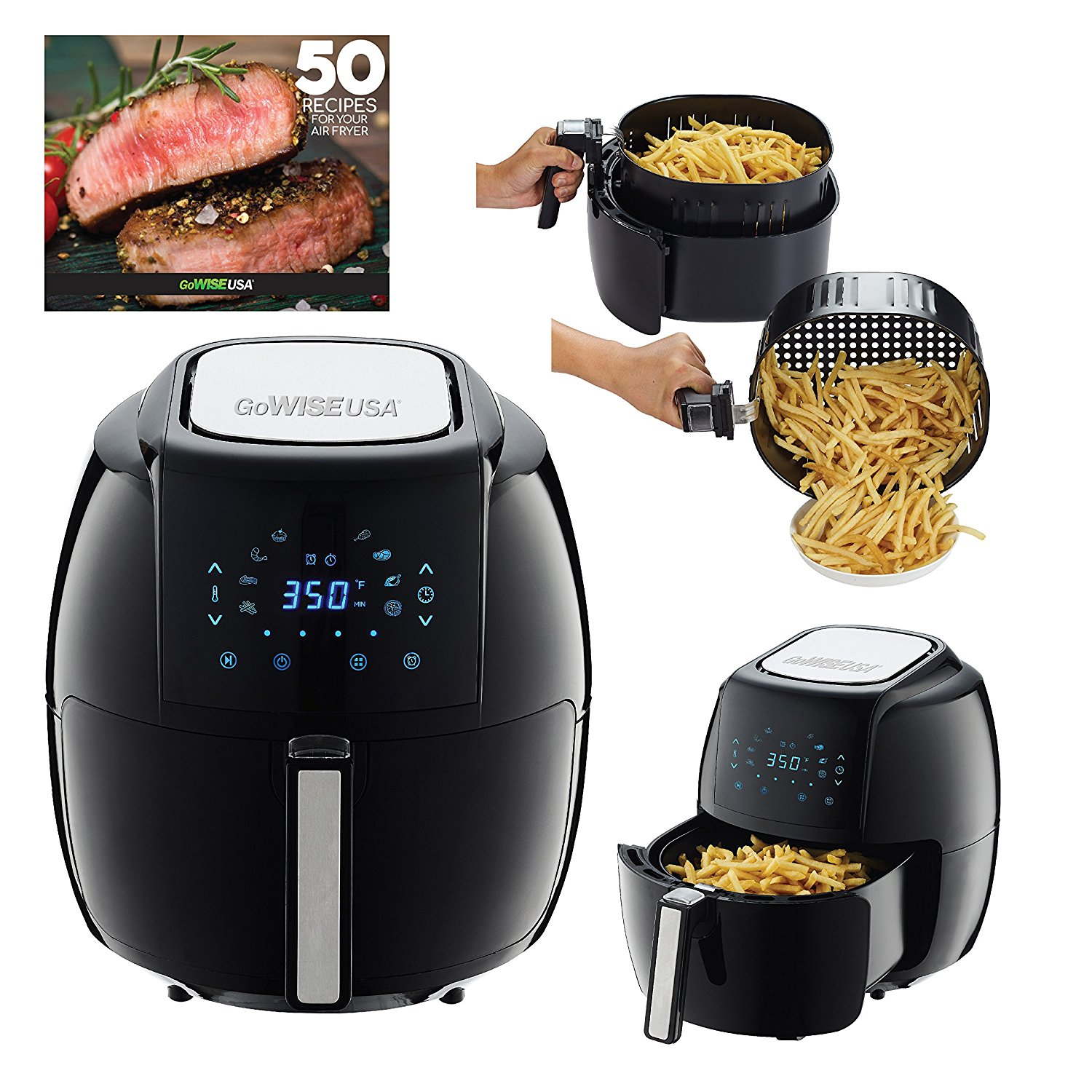 gowise usa 5 8 qt programmable 8 in 1 air fryer xl 80. Black Bedroom Furniture Sets. Home Design Ideas