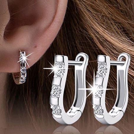 Rhinestone Harp-Shaped Earrings