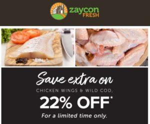 EXTRA 22% OFF Zaycon Fresh Chicken Wings & Wild Alaskan Cod Fillets!