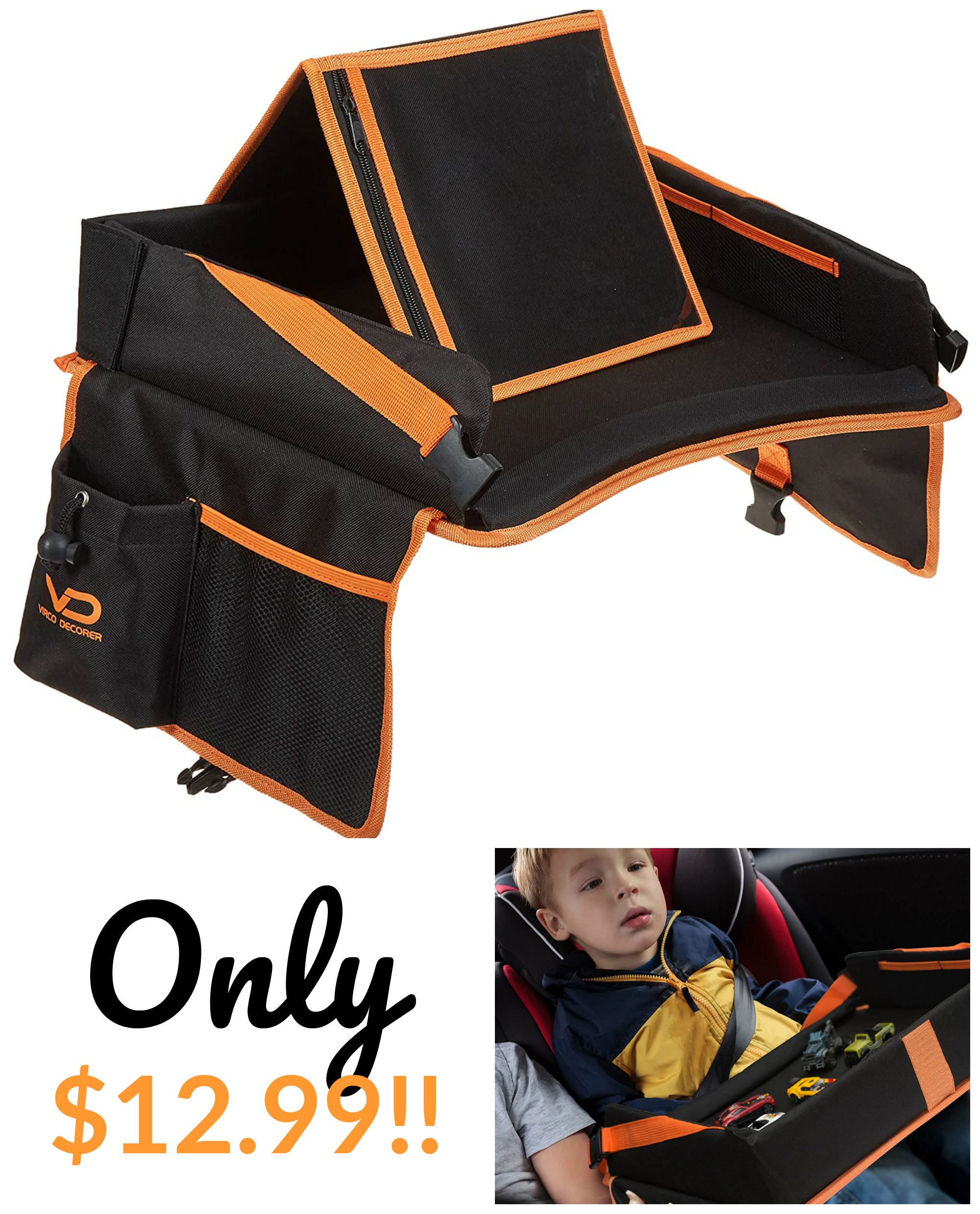 Kids Travel Tray with Storage Pockets Only $12.99!