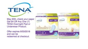 NEW $4/1 TENA® Overnight Pad or Underwear Product Coupon!