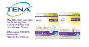 NEW $4/1 TENA®Overnight Pad or Underwear Product Coupon!