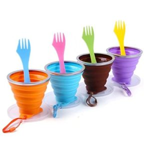 Set of 4 Collapsible Cups and Sporks Only $14.99 – Perfect for Camping! Lowest Price!