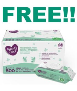 FREE Parent's Choice Baby Wipes 500-count at Walmart!