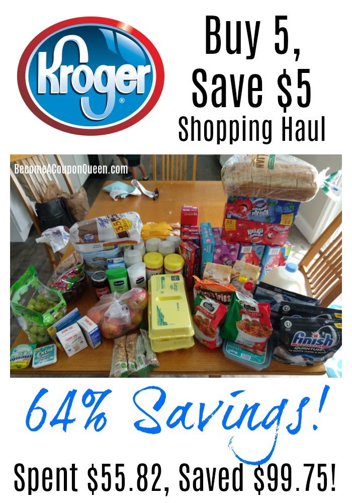 Kroger Buy 5, Save $5 Shopping Haul – 64% Savings!