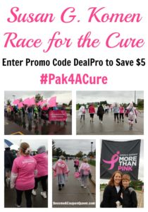Save $5 on Susan G Komen Race for the Cure Entry!