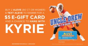 $5 E-Gift Card wyb 2 Aleve 80-count or Higher at Walmart!