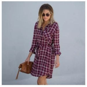 Plaid Print Tie-Waist Dress Only $23.98 Shipped! Was $44.99!