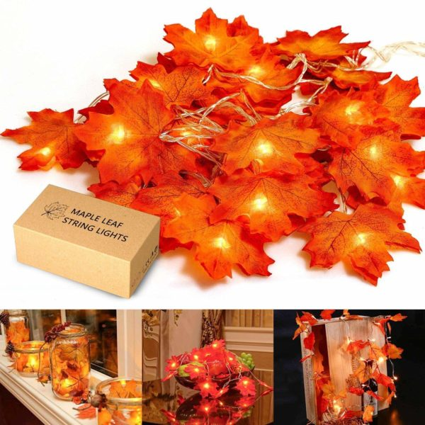 Maple Leaf Lighted Garland
