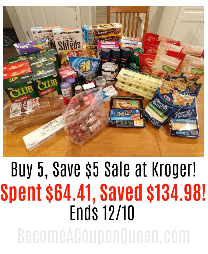 Kroger Buy 5, Save $5 Sale Shopping Haul! 68% Savings!