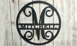 Circle Vine Monogram Initial and Family Name Sign Was $39.95, NOW $12!