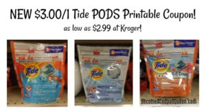 NEW Printable Coupon! $3.00 OFF Tide PODS Laundry Detergent
