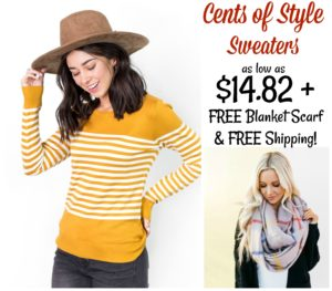 Cents of Style Sweater Sale – as low as $14.82 Shipped + FREE Blanket Scarf!!